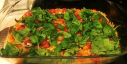 Green roasting tin orzo and tomatoes made in KD kitchen
